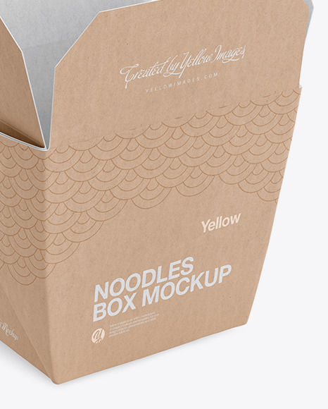 Download Opened Kraft Noodles Box Mockup Half Side View In Box Mockups On Yellow Images Object Mockups PSD Mockup Templates