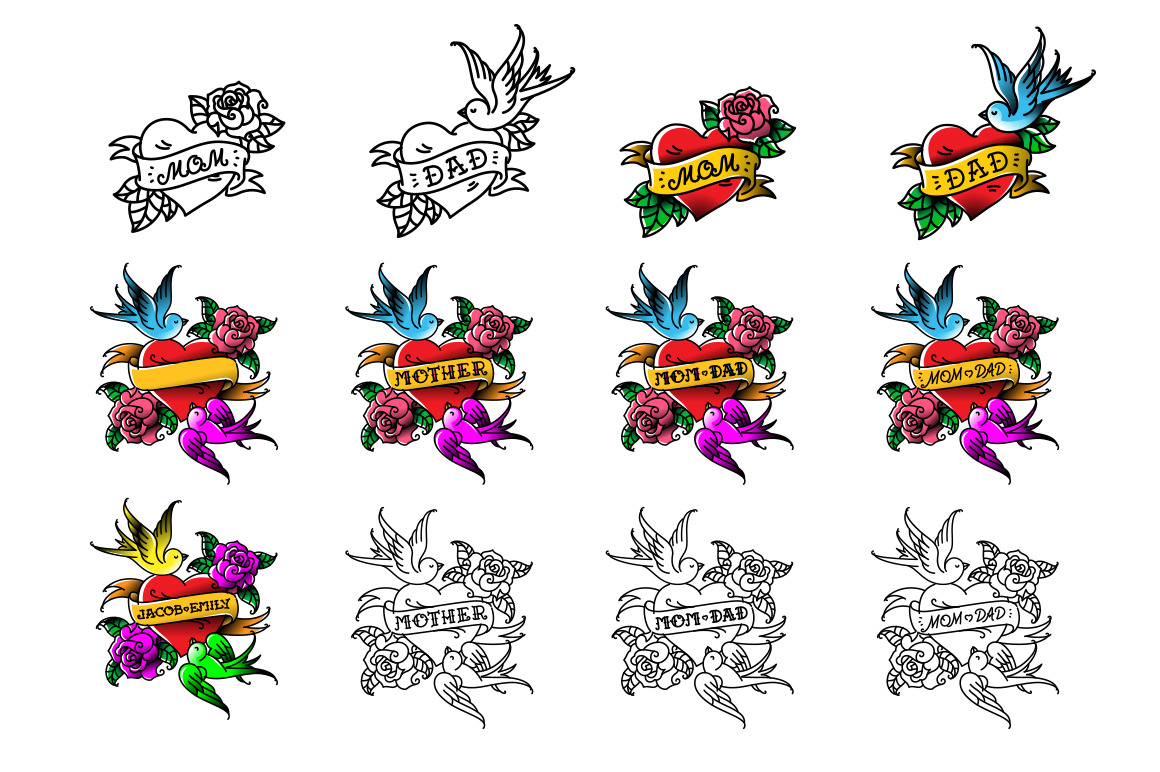 25 Tattoos and 2 Fonts. Vector!