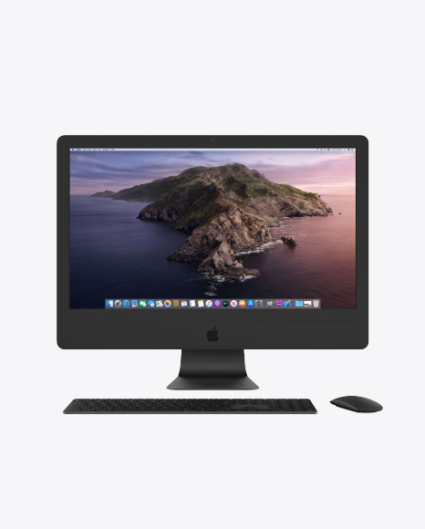 Clay IMac Pro Mockup with Keyboard and Mouse Mockup