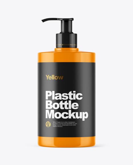 Glossy Plastic Bottle with Dispenser Mockup