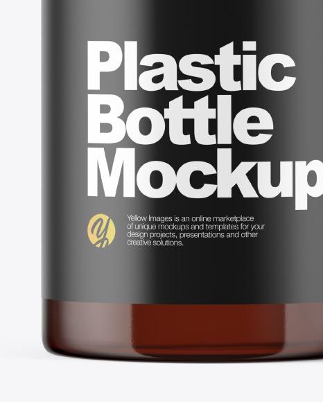 Amber Plastic Bottle with Dispenser Mockup