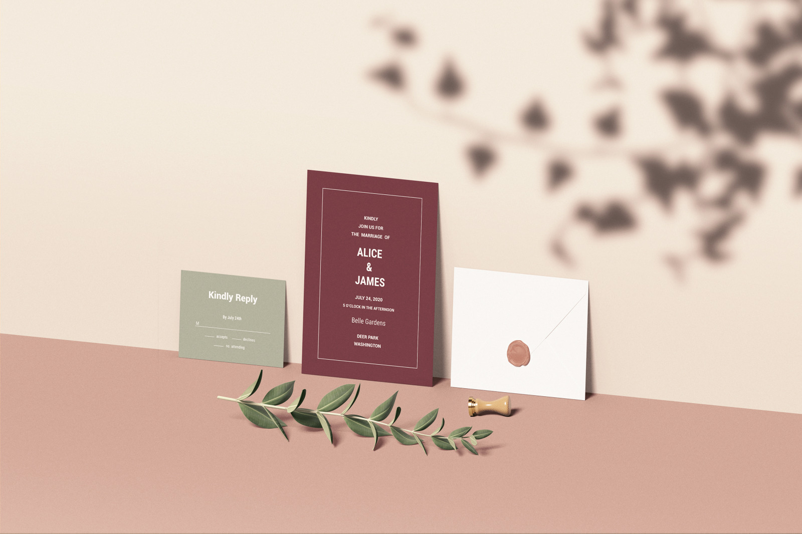 Download Wedding Invitation Set Mockup In Stationery Mockups On Yellow Images Creative Store PSD Mockup Templates