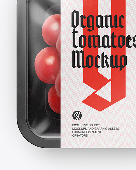 Plastic Tray With Сherry Tomatoes Mockup