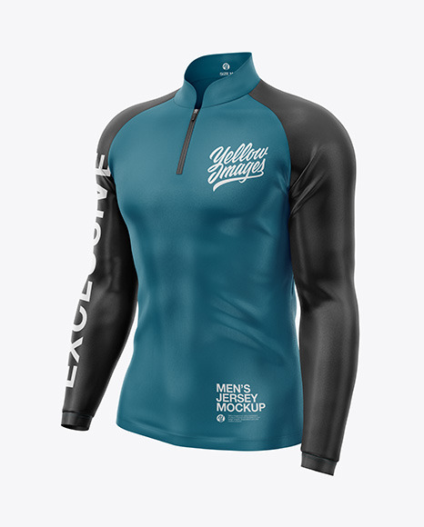 Men's Jersey With Long Sleeve Mockup - Front Half Side View