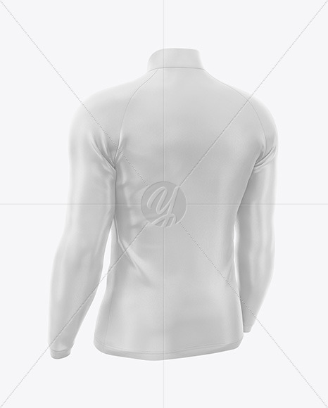 Men's Jersey With Long Sleeve Mockup - Backt Half Side View