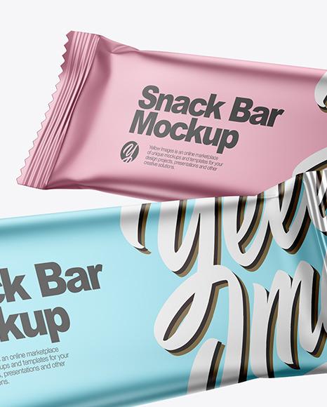 Two Matte Metallic Snack Bars Mockup