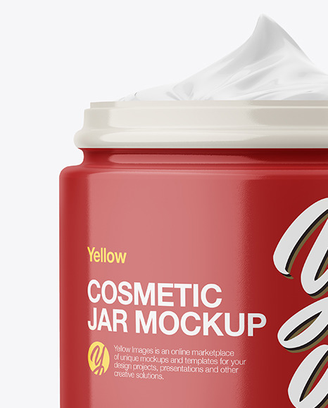 Opened Glossy Plastic Cosmetic Jar Mockup