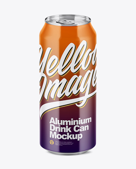 500ml Glossy Aluminium Drink Can Mockup