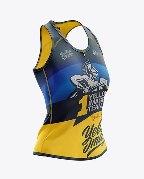 Download Womens Triathlon Top 2020Right Half Side View PSD Mockup