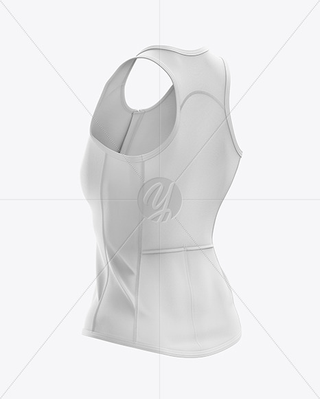 Women's Triathlon Top mockup (Back Half Side View)