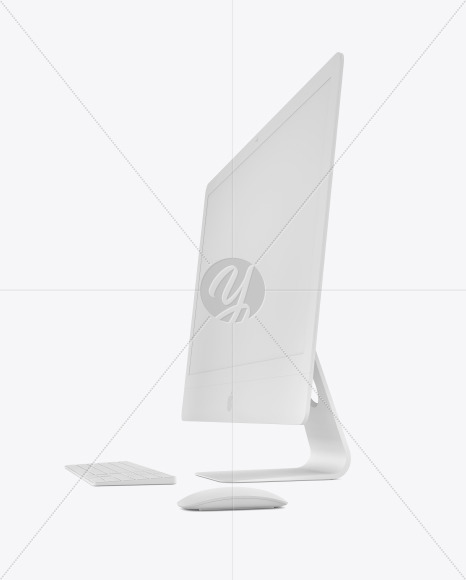 Clay IMac Pro with Keyboard and Mouse Mockup