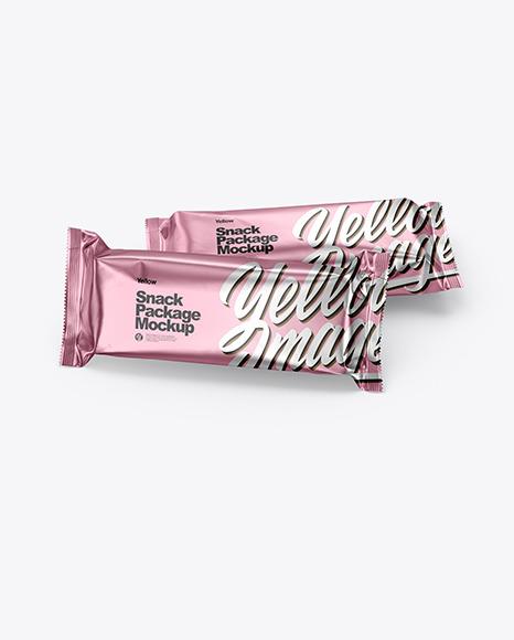 Download Two Matte Metallic Snack Bars PSD Mockup