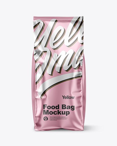 Download Matte Metallic Food Bag PSD Mockup
