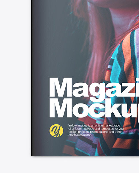 Download Glossy Magazine Mockup In Stationery Mockups On Yellow Images Object Mockups PSD Mockup Templates