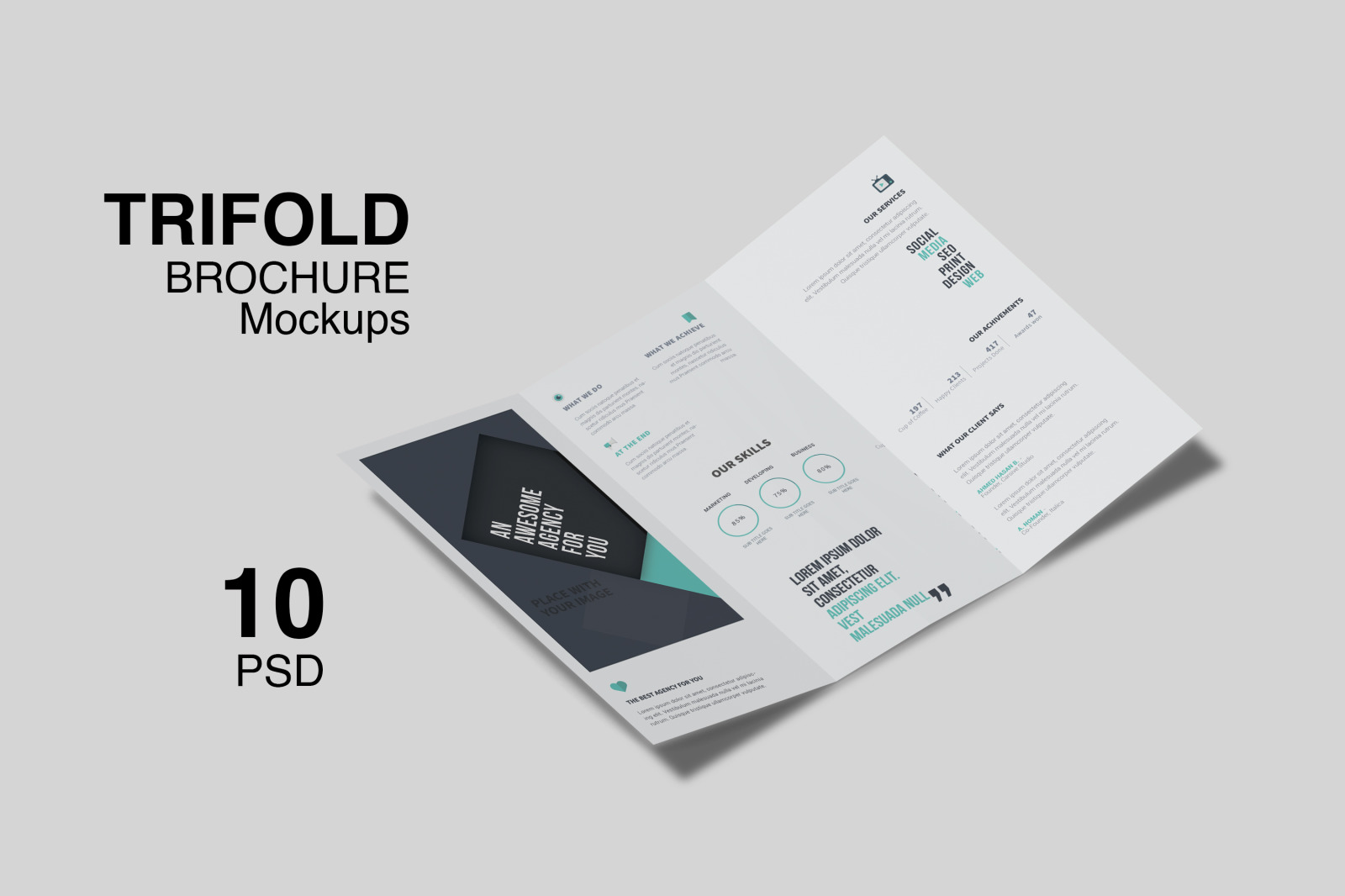 Trifold Brochure Mockup For Business In Stationery Mockups On
