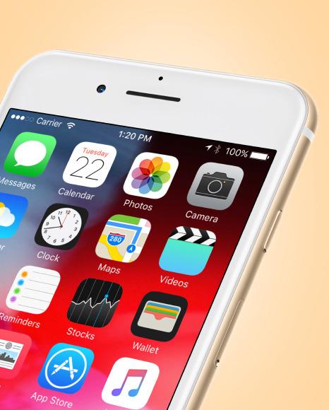 Gold Apple Iphone 7 Mockup