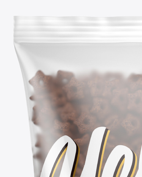 Matte Bag With Chocolate Stars Cereal Mockup