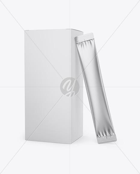 Matte Box W/ Metallic Sachet Mockup