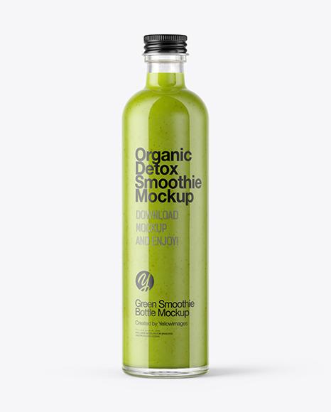 Download Green Smoothie Bottle PSD Mockup