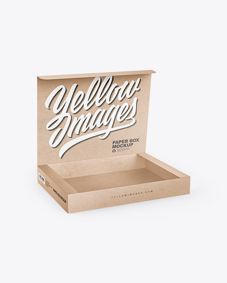 Download Opened Kraft Paper Box PSD Mockup