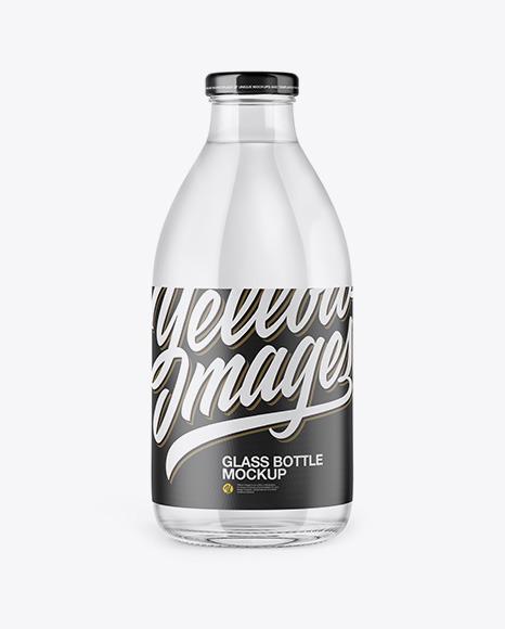 Download Clear Glass Bottle PSD Mockup