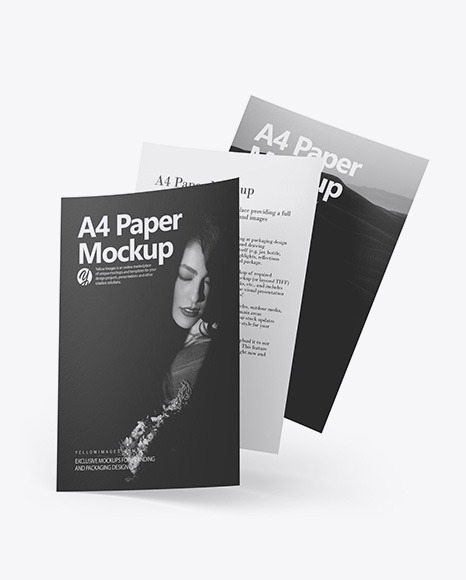 Download Three Textured A4 Papers PSD Mockup