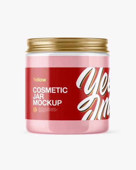 Download Clear Cosmetic Jar PSD Mockup