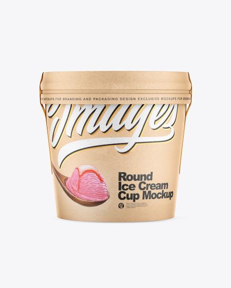 Download Kraft Ice Cream Cup PSD Mockup
