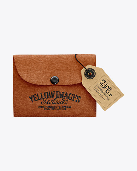 Download Leather Purse w Label PSD Mockup