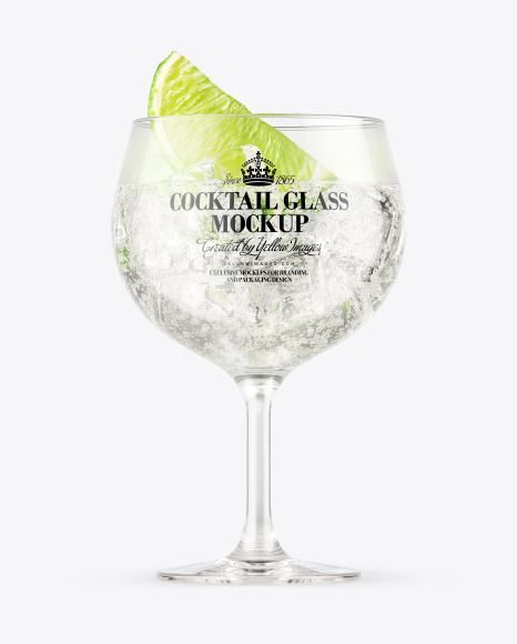 Download Gin & Tonic Cocktail Glass PSD Mockup