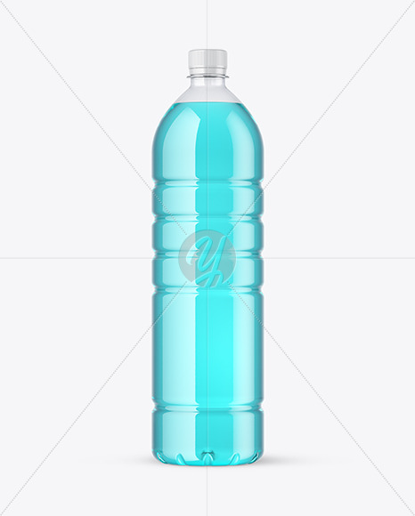 Clear PET Bottle with Drink Mockup