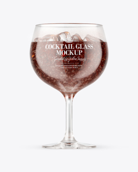 Download Rum & Cola Cocktail Glass PSD Mockup