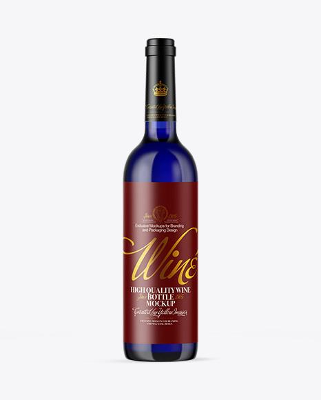 Download Blue Glass Wine Bottle PSD Mockup