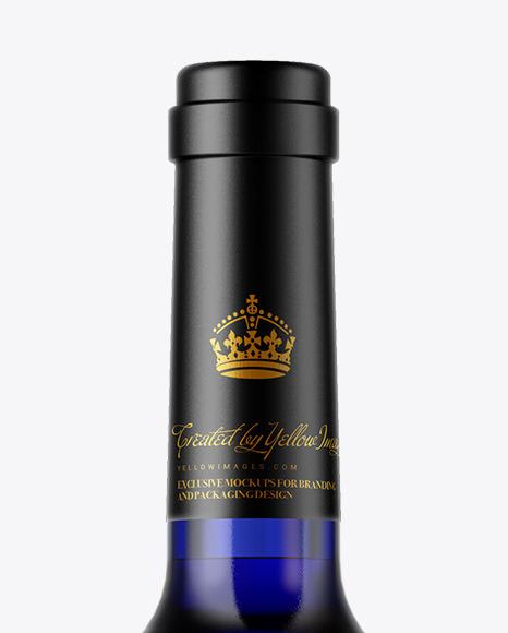 Blue Glass Wine Bottle Mockup