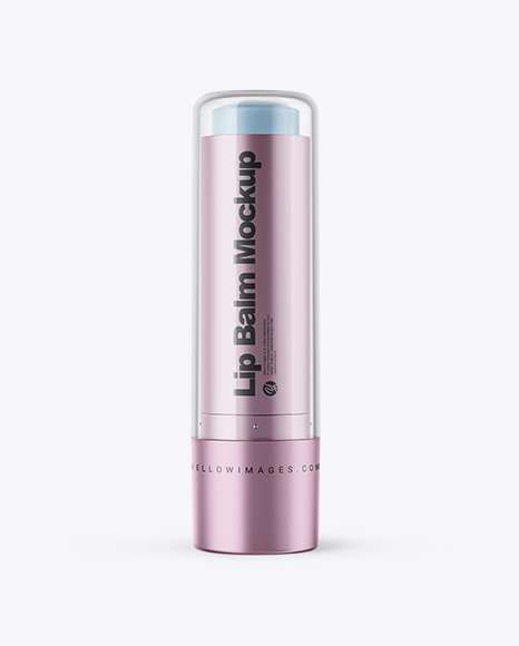 Download Metallized Lip Balm Tube With Transparent Cap PSD Mockup