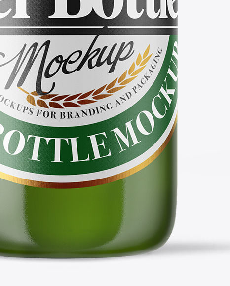 Download Green Glass Bottle With Lager Beer Mockup PSD - Free PSD Mockup Templates