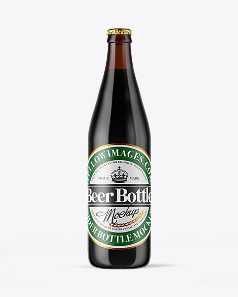 Download Amber Glass Dark Beer Bottle PSD Mockup