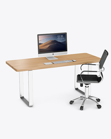 Download Desk with IMac PSD Mockup