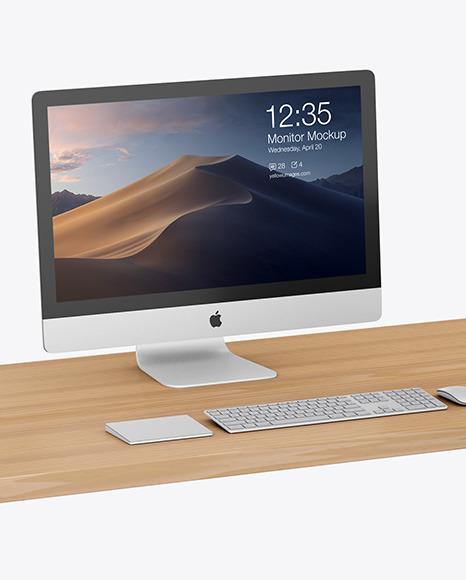 Desk with IMac Mockup