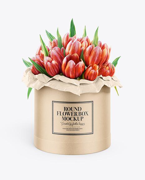 Download Kraft Round Flower Box PSD Mockup
