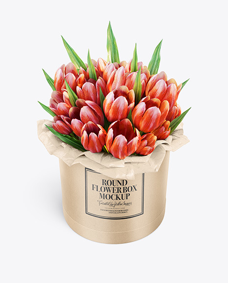 Download Kraft Round Flower Box HighAngel View PSD Mockup