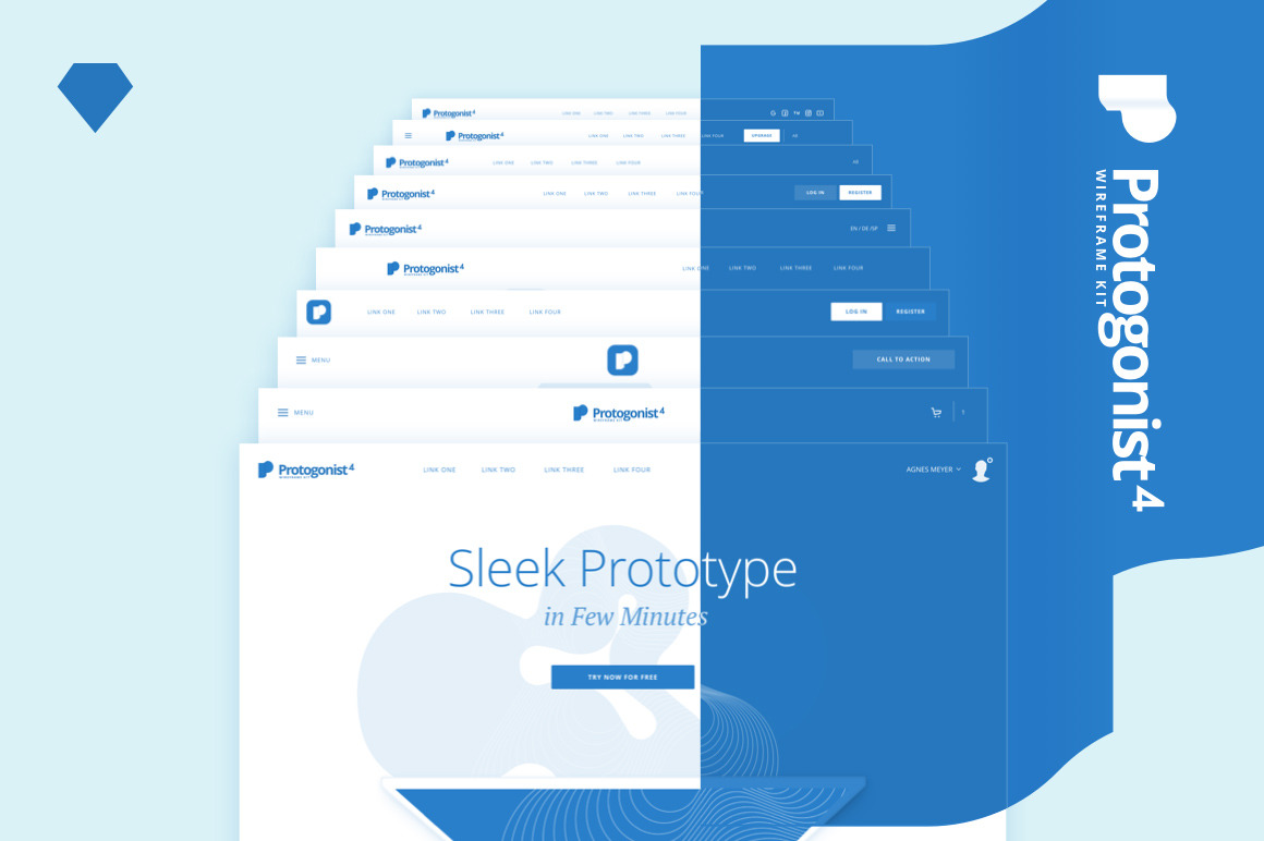 Protogonist 4 Wireframe Kit