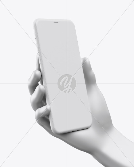iPhone Pro Max Clay in Hand Mockup