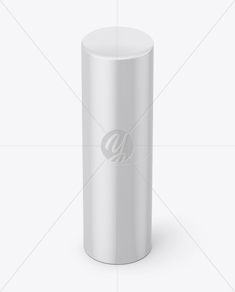 Round Glossy Lipstick Tube Mockup - Half Side View (High Angle Shot)
