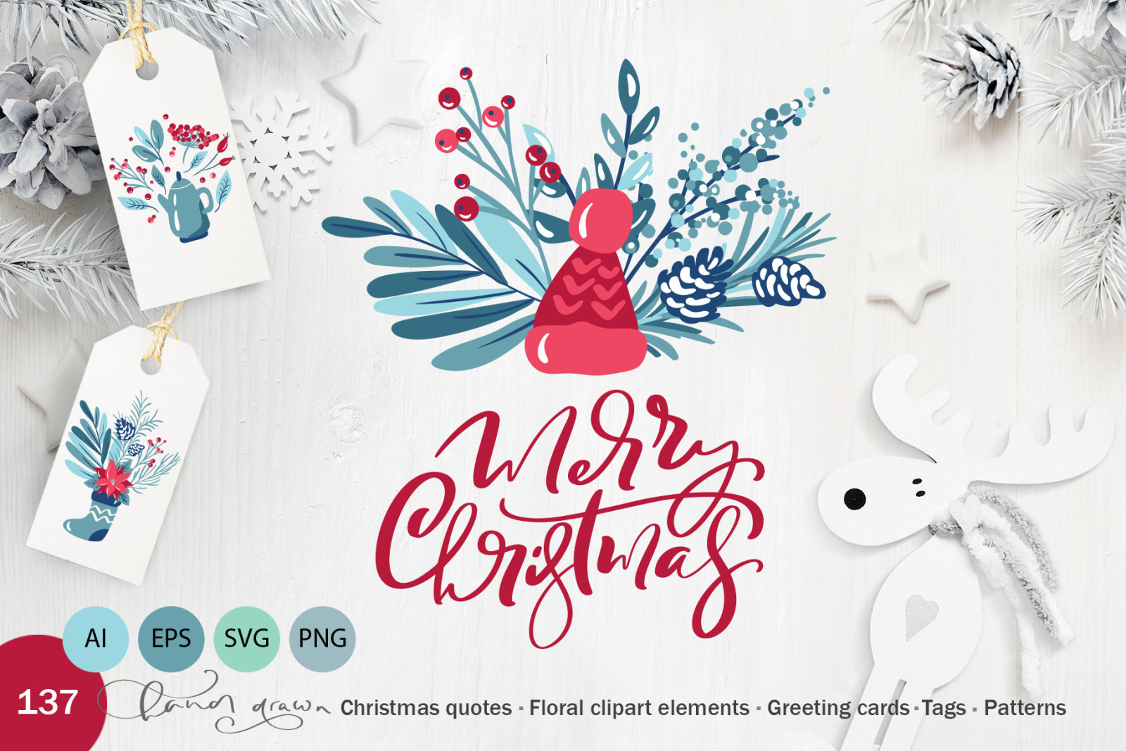 Christmas floral holiday elements
