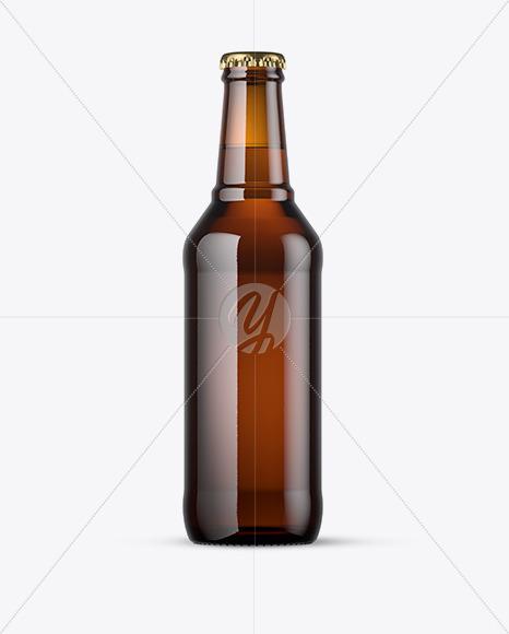 330ml Amber Beer Bottle Mockup