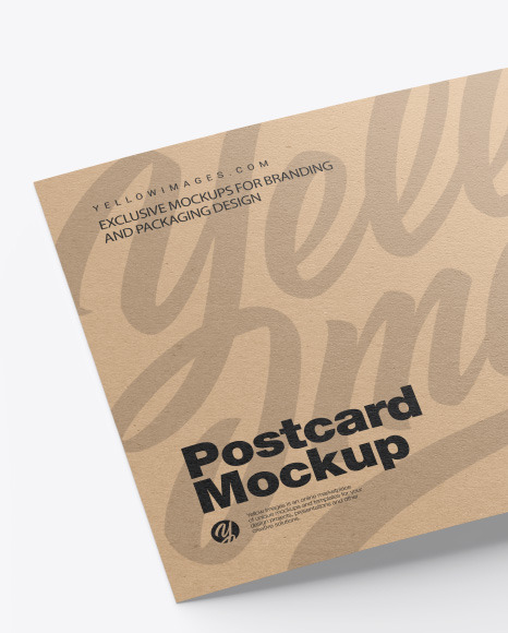 Kraft A5 Postcard Mockup In Stationery Mockups On Yellow Images