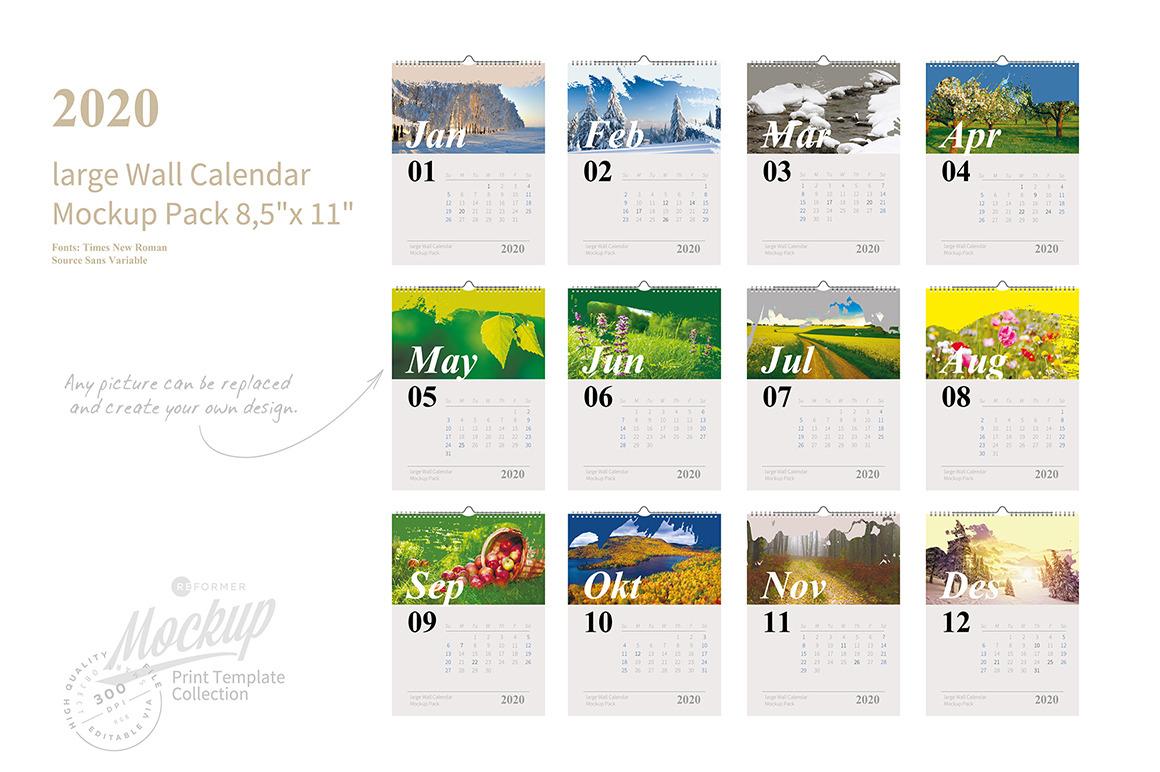 2020 large Wall Calendar Mockup Pack