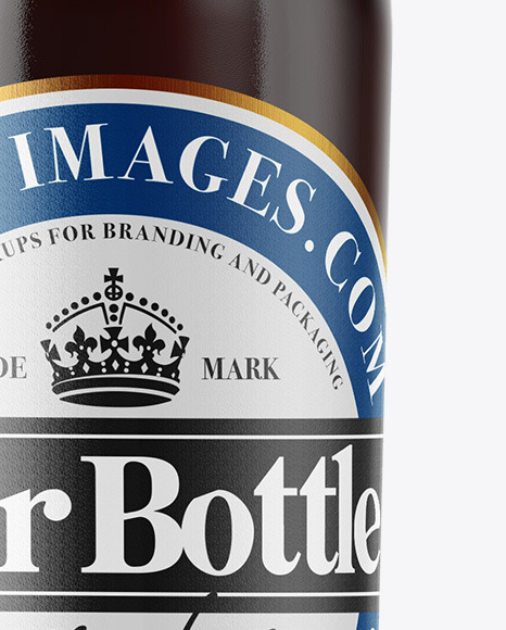 Clear Glass Bottle with Brown Ale Mockup