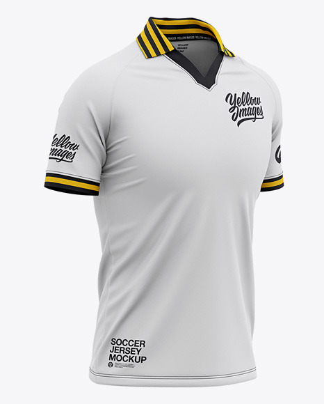 Men's Soccer Jersey Mockup - Front Half Side View Of Soccer Polo T-Shirt